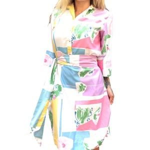 Vintage Catherine Ogust Pastel Abstract Dress